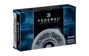"Federal PowerShok, 12 Gauge, 2.75"", 00 Buck, 12 Pellets, 5Round Box F13000, UPC : 029465009687"