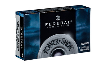 "Federal PowerShok, 12 Gauge, 2.75"", 00 Buck, 12 Pellets, 5Round Box F13000, UPC : 029465009687"