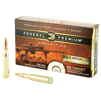 Federal Gold Medal Match, 308 Winchester, 168 Grain, Boat Tai, Hollow Point. 20 Round Box GM308M, UPC : 029465089337