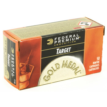 Federal Gold Medal, 22LR, 40 Grain, Lead Round Nose, 50 Round Box 711B, UPC : 029465057107