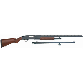 "Mossberg 500 Combo, Pump Action, 12 Gauge, 3"" Chamber, 28"" Vent Rib Barrel, Ported, AccuChoke, Blue Finish, Wood Stock, Bead Sight, 5Rd, w/24 Rifled Ported, Rifled Sight Barrel 54264, UPC : 015813542647"