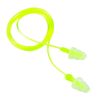 3M/Peltor Tri-Flange Ear Plug, Reusable, Hearing Protection With Cord, 3 Pack, Yellow 97317, UPC : 078371610067