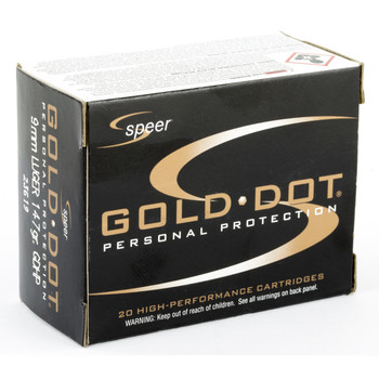 CCI/Speer Speer Gold Dot, 9MM, 147 Grain, Hollow Point, 20 Round Box 23619, UPC : 076683236197