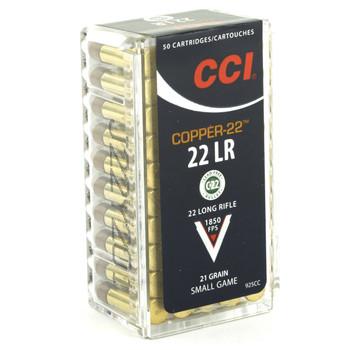 CCI/Speer Copper-22, 22LR, 21 Grain, Copper, Lead Free, 50 Round Box 925CC, UPC :604544617467