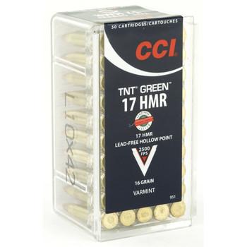 CCI/Speer TNTGreen, 17HMR, 16 Grain, Hollow Point, Lead Free, 50 Round Box 951, UPC : 076683009517