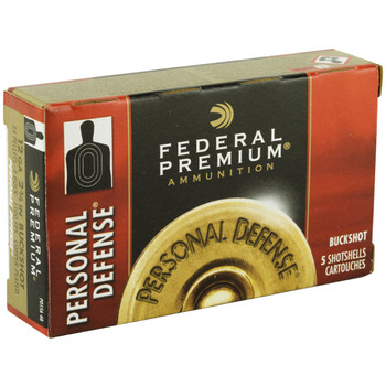 "Federal Personal Defense, 12 Gauge, 2.75"", 4 Buck, Buckshot, 34 Pellet, 5 Round Box PD1564B, UPC : 029465027407"