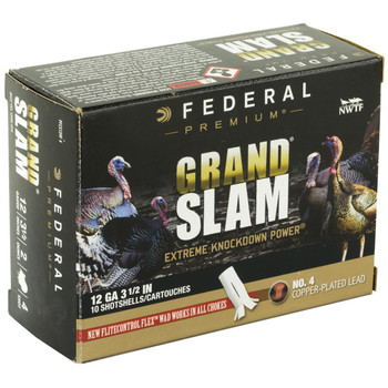 "Federal Grand Slam, 12 Gauge, 3.5"", #4, 2oz, Flight Control, 10 Round Box PFCX139F 4, UPC :604544631777"