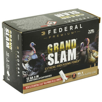 "Federal Grand Slam, 12 Gauge, 3"", #4, 1.75oz, Flight Control, 10 Round Box PFCX157F 4, UPC :604544631807"