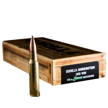 Gorilla Ammunition Company LLC 308 Win, 175 Grain, Boat Tail Hollow Point, Sierra MatchKing, 20 Round Box GA308175SMK, UPC :858934003037
