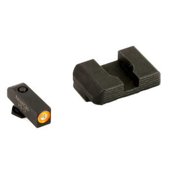 AmeriGlo Hackathorn, Sight, For Glock 43 and 43, Front/Rear, Green Tritium Orange Outline Front, Black Serrated Rear GL-436, UPC :644406908807