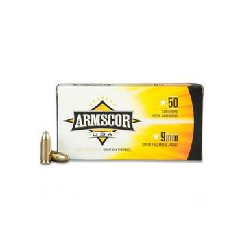 Armscor 9MM, 124 Grain, Full Metal Jacket, 50 Round Box FAC9-4, UPC :812285020037