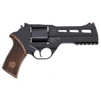 """Chiappa Firearms Rhino 50DS, Revolver, Double/Single Action, 357 Magnum/38 Special, 5"""" Barrel, Alloy Frame, Walnut Grips, 6Rd, Black Finish, 3 Moon Clips, Adjustable Rear Sight and Fiber Optic Front 340-220, UPC :8053670712157"""