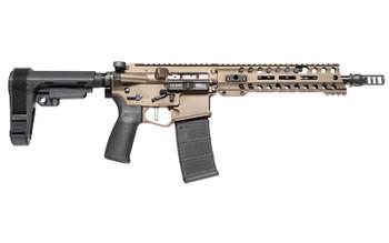"Patriot Ordnance Factory Renegade Plus, Semi-automatic AR Pistol, 223 Rem/556NATO, 10.5"" Puritan Barrel, 1:8 Twist, Burnt Bronze Finish, SB Tactical SBA3 Brace, 30Rd, MLOK Renegade Rail, Triple Port Muzzle Brake, POF-USA 3.5 lb Drop-In FLAT Trigger,"