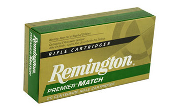 Remington Premier Match, 308WIN, 175 Grain, Hollow Point, 20 Round Box 21486, UPC : 047700396507