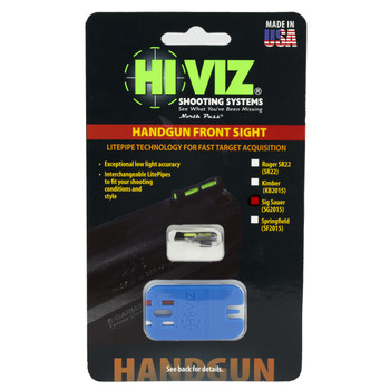 Hi-Viz Litewave Sight, Fits Sig P-Series, 3 Color Red/White/Green, Front Only, Includes Litepipes and Key SG2015, UPC :613485588927