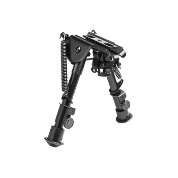 "NCSTAR Bipod, Black, Spring Loaded Folding Action, Friction Lock Legs, 3 Adapters Included (AR-15 GI Handguard, Universal Barrel Mount, Weaver/Picatinny Type Rail with Sling Stud), Fits Most Rifles, 5.5""-8"" ABPGC, UPC :814108015787"