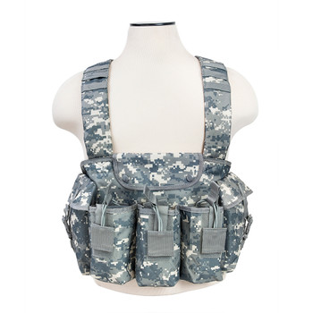 NCSTAR AK Chest Rig, Digital Camo, Holds (6) AK Magazines, Nylon, Also includes One Belly Pouch for Additional Equipment and Two Gear Pouches CVAKCR2921D, UPC :814108016647