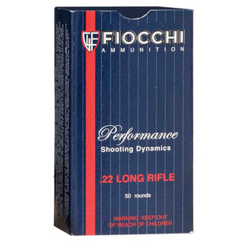 Fiocchi Ammunition Rimfire, 22LR, 38 Grain, Copper Plated Hollow Point, 50 Round Box 22FHVCHP, UPC :762344710037
