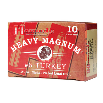 "Hornady Heavy Magnum Turkey, 12Ga 3"", #6 Shot, 10 Round Box 86244, UPC : 090255862447"