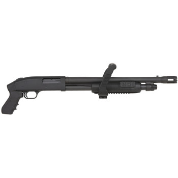 "Mossberg 500, Chainsaw, Pump Action 12 Gauge, 3"" Chamber, 18.5"" Barrel, Matte Finish, Pistol Grip Stock, White Dot Sight, 5Rd, Removable Forend Handle/Grip 50460, UPC : 015813504607"