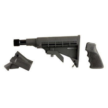 Mesa Tactical LEO Recoil Stock Kit , Fits Remington 870 12 Gauge, Includes LEO Stock Adapter, Enidine Recoil Buffer, Standard A2 Collapsible Stock, and Hogue Grip, Black 92230, UPC :878405000877