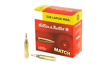 Sellier & Bellot Match, 338 Lapua, 250 Grain, Boat Tail Hollow Point, 10 Round Box SB338LMA, UPC :754908511747