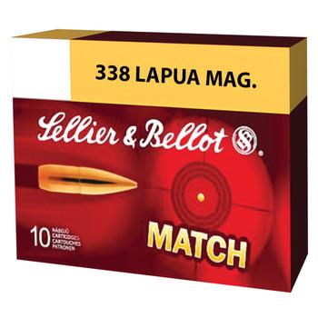 Sellier & Bellot Match, 338 Lapua, 300 Grain, Boat Tail Hollow Point, 10 Round Box SB338LMB, UPC :754908512157