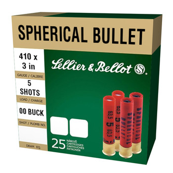 "Sellier & Bellot Super Speed, 410 Gauge, 3"" Chamber, Buckshot 5 Pellets, 25 Round Box SB410B, UPC :754908550197"