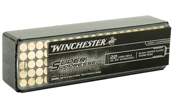 Winchester Ammunition Super Suppressed, 22LR, 45 Grain, Lead Round Nose, 100 Round Box SUP22LR, UPC : 020892104037
