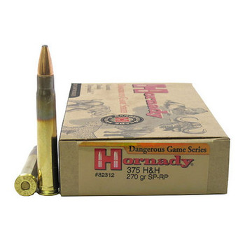 Hornady Dangerous Game Ammunition 375 HH Magnum 270 Grain Spire Point Recoil Proof Box of 20, UPC : 090255823127