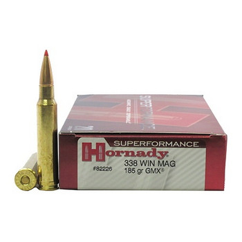 Hornady Superformance GMX Ammunition 338 Winchester Magnum 185 Grain GMX Boat Tail Lead-Free Box of 20, UPC : 090255822267