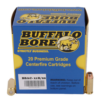 Buffalo Bore Ammunition 10mm Auto 180 Grain Jacketed Hollow Point Box of 20, UPC :651815021027