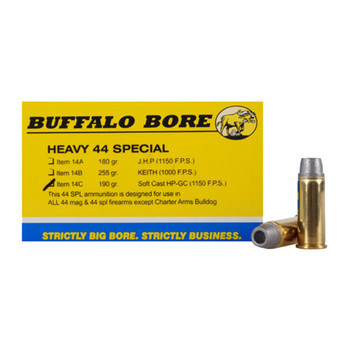 Buffalo Bore Ammunition 44 Special 190 Grain Lead Soft Cast Hollow Point Gas Check Box of 20, UPC :651815004457