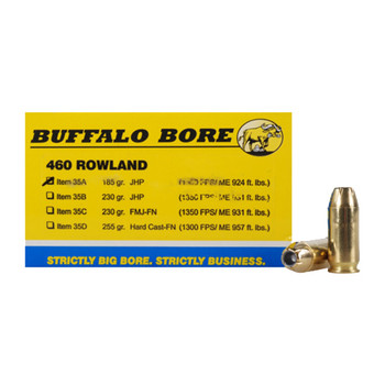 Buffalo Bore Ammunition 460 Rowland 185 Grain Jacketed Hollow Point Box of 20, UPC :651815035017