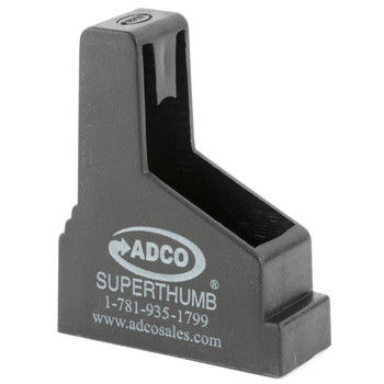 ADCO Super Thumb, Mag Loader, Black Finish, Fits Most 9MM-45ACP Single Stack Magazines, Fits 1911, S&W Shield, Sig 220/938, Springfield XDS ST3, UPC :733315010036