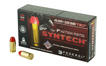 Federal Syntech Action Pistol, 45 ACP, 220Gr, Total Synthetic Jacket, 50 Round Box AE45SJAP1, UPC :604544624106