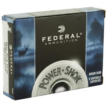 "Federal PowerShok Ammunition, 10Ga 3.5"", 1.75oz, Rifled Slug Hollow Point,5 Round Box F103FRS, UPC : 029465028336"