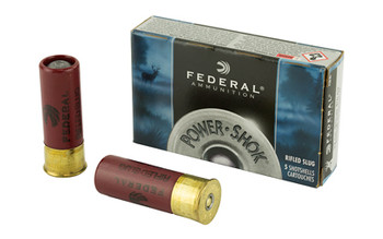 "Federal PowerShok, 12 Gauge, 2.75"", Mag Dram, 1.25oz, Rifled Slug, Hollow Point,5 Round Box F130RS, UPC : 029465009946"