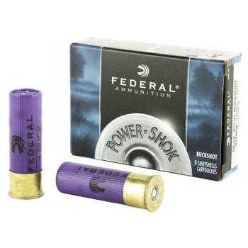 "Federal PowerShok, 16 Gauge, 2.75"", 1 Buck, Max Dram, Buckshot, 12 Pellets,5 Round Box F1641B, UPC : 029465009786"