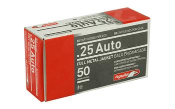 Aguila Ammunition Pistol, 25 ACP, 50 Grain, Full Metal Jacket, 50 Round Box 1E252110, UPC :640420003016