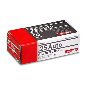Aguila Ammunition Pistol, 25 ACP, 50 Grain, Full Metal Jacket, 50 Round Box 1E252110, UPC :640420003016