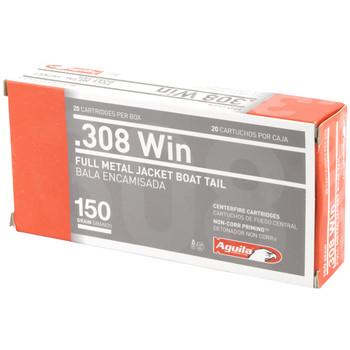 Aguila Ammunition 308 Win, 150 Grain, Full Metal Jacket Boat Tail, 20 Round Box 1E308110, UPC :640420003306