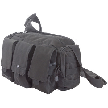 "Allen Edge Bail Out Bag, Black Polyester, Three Oversized External Magazine Pockets, External Accessory Pockets, MOLLE Web System,  Cool Mesh Hip Pad, Lockable Interior, Padded Shoulder Carry Strap, 15""x9""x6"", 800 Cubic Inches 10853, UPC : 0265090124"