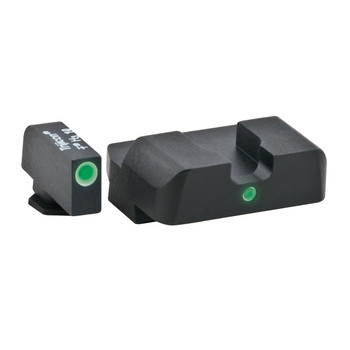 AmeriGlo I-Dot 2 Dot Sights for Glock 17,19,22,23,24,26,27,33,34,35,37,38,39, Green with White Outline, Front and Rear Sights GL-101, UPC :644406902836