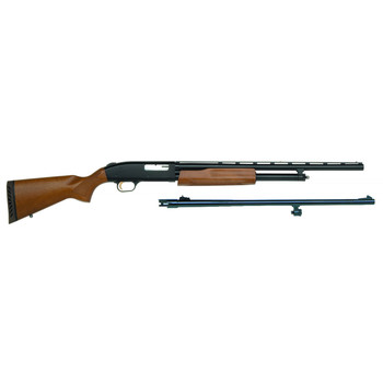 "Mossberg 500 Combo, Bantam Youth, Pump Action, 20 Gauge, 3"" Chamber, 22"" Vent Rib Barrel, AccuChoke, Blue Finish, Wood Stock, Bead Sight, 5Rd, w/24 Rifled Ported Barrel, Rifled Sights 54188, UPC : 015813541886"