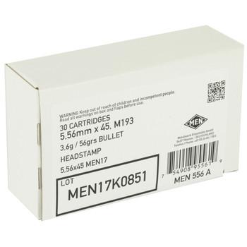 Magtech MEN, 556NATO, 55 Grain, Full Metal Jacket, 510 Round Box MEN556A, UPC :754908955626