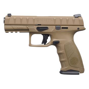 "Beretta APX, Semi-automatic, Striker Fired, Full Size Pistol, 9mm, 4.25"" Barrel, Polymer Frame, FDE Finish, 17Rd, 2 Mags, 3 Dot Sights JAXF92105, UPC : 082442893266"