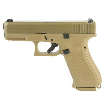 """Glock 19X, Safe Action, Compact Size Pistol, 9MM, 4.01"""" Marksman Barrel, Coyote Polymer Frame, Coyote Slide, Coyote Magazines, Coyote Box, 3-10Rd, Glock OEM Rail, Lanyard Loop, Ambidextrous Slide Stop Lever, No Finger Grooves, Glock Night Sights PX19"""