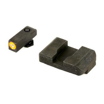 AmeriGlo Hackathorn, Sight, For Glock 17/19/22/23/24/26/27/33/34/35/37/38/39, Front/Rear, Green Tritium Orange Outline Front, Black Serrated Rear GL-433, UPC :644406903246