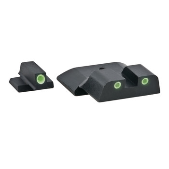 "AmeriGlo Bowie Tactical 3 Dot Sights for All S&W M&P (Except Pro & ""L"" Models), Green with White Outline, Front and Rear Sights SW-801, UPC :644406901716"